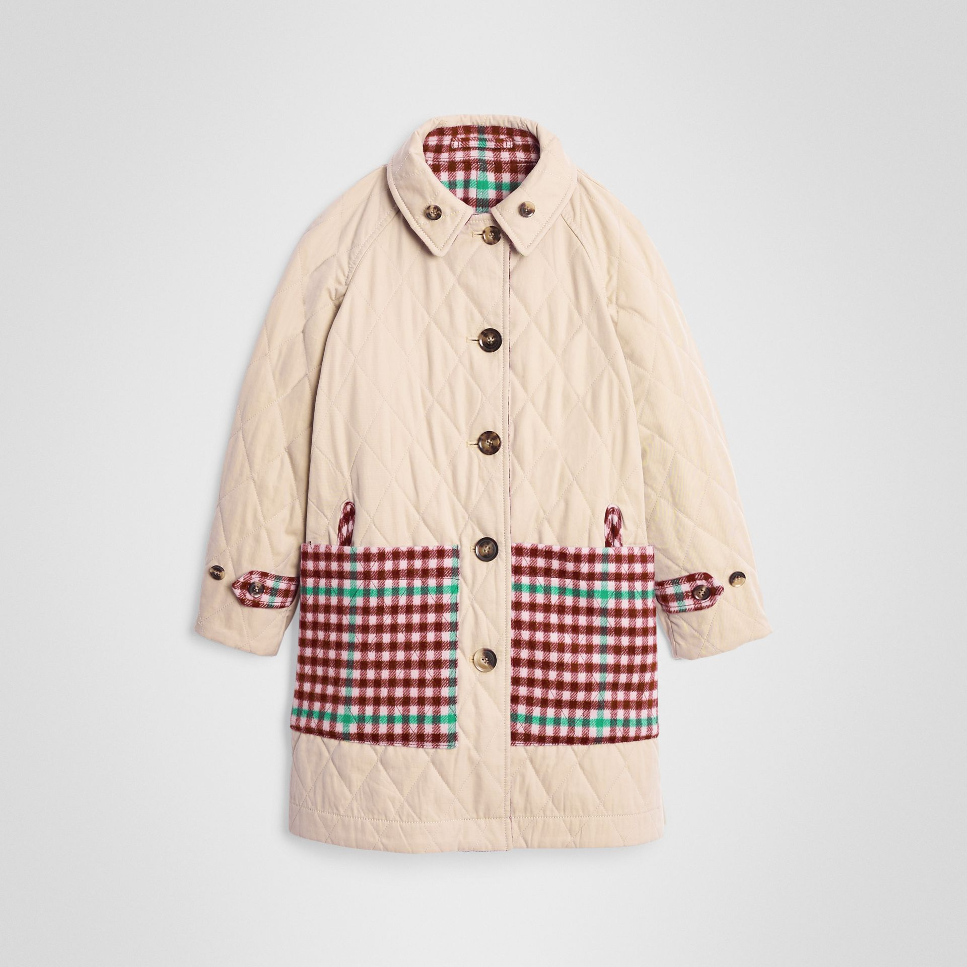 Reversible Check Wool and Cotton Car Coat in Garnet Pink | Burberry - gallery image 3