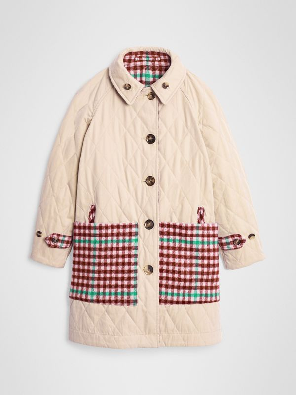 Reversible Check Wool and Cotton Car Coat in Garnet Pink | Burberry - cell image 3