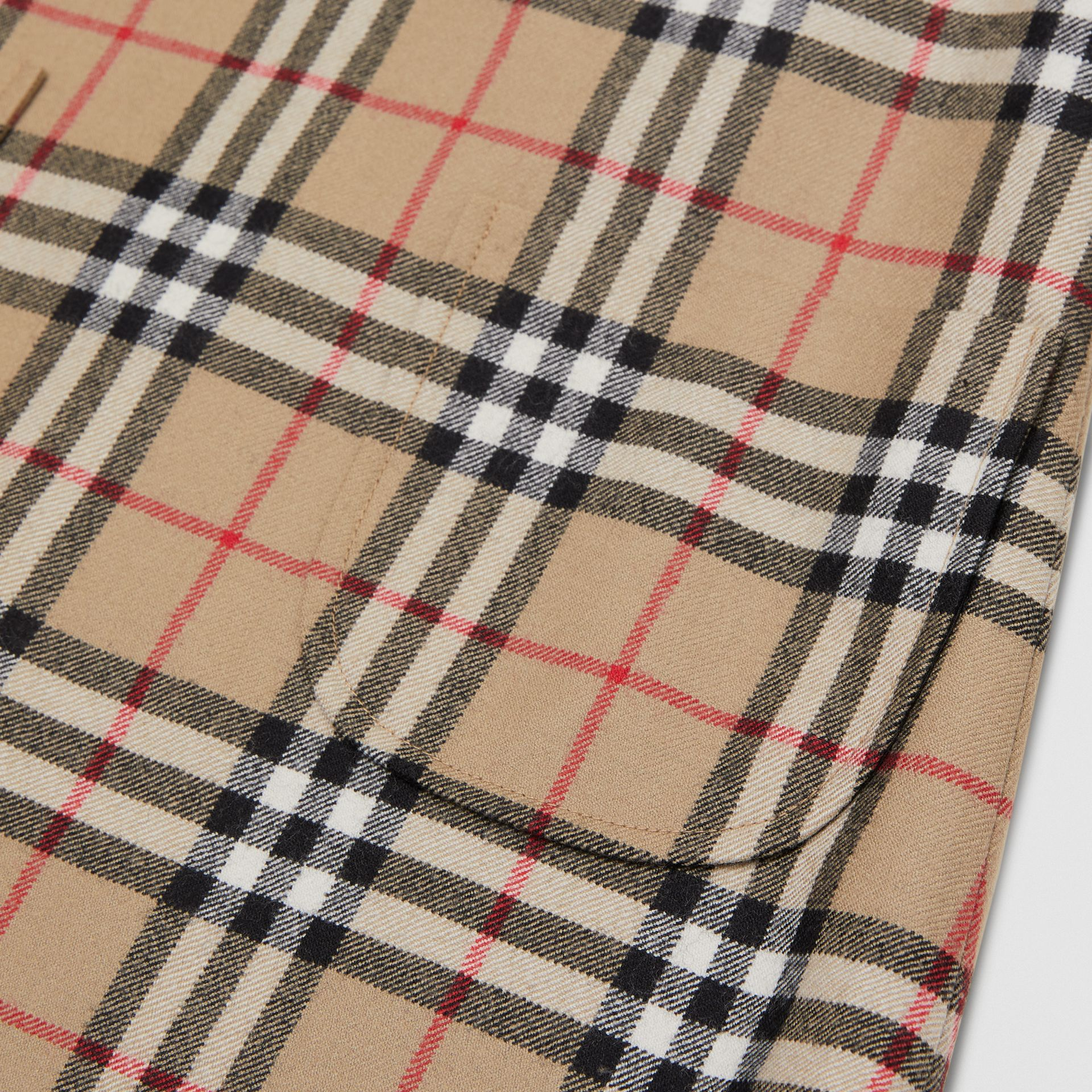 Vintage Check Wool Funnel Neck Dress in Archive Beige | Burberry - gallery image 1