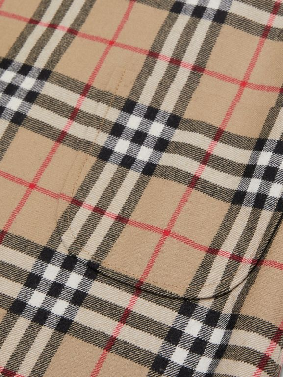 Vintage Check Wool Funnel Neck Dress in Archive Beige | Burberry Singapore - cell image 1