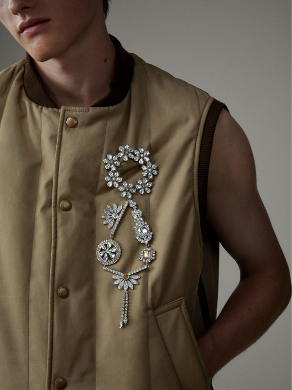 Quilted Cotton Poplin Gilet in Pale Olive - Men | Burberry United Kingdom - cell image 1