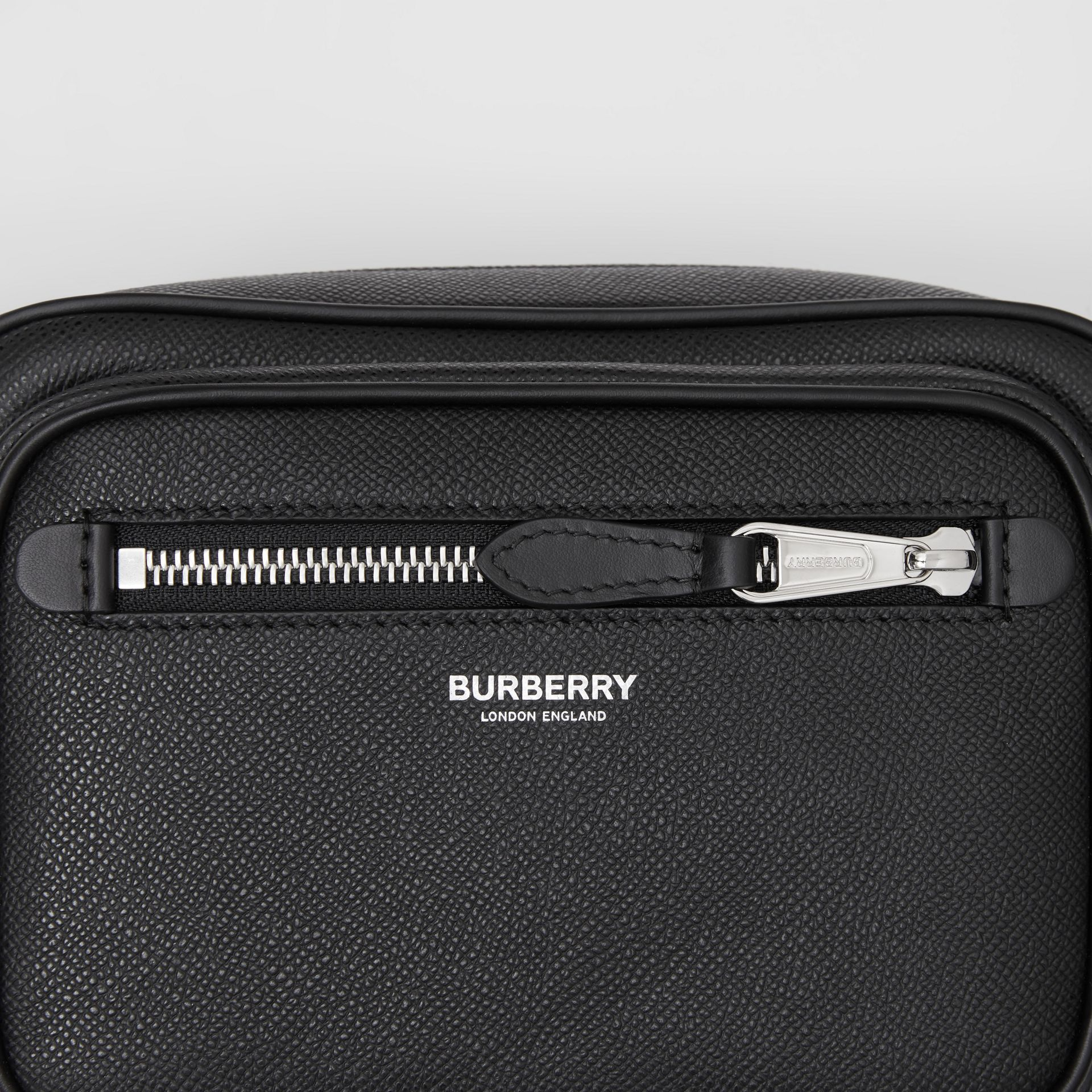 Grainy Leather Crossbody Bag in Black - Men | Burberry - gallery image 1