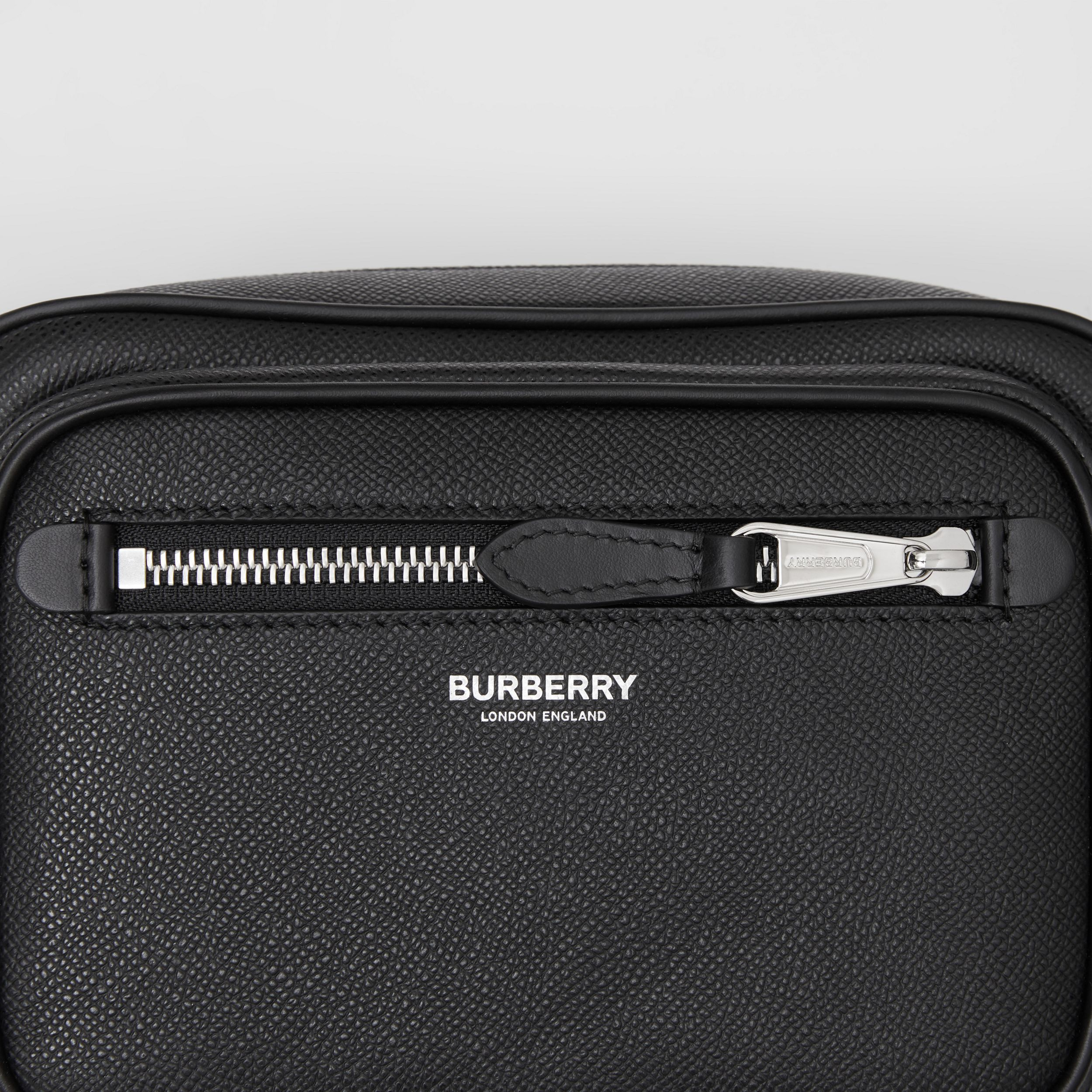Grainy Leather Crossbody Bag in Black - Men | Burberry - 3