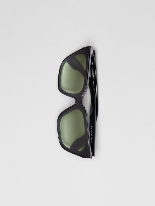 Square Frame Shield Sunglasses in Black - Women | Burberry - cell image 3
