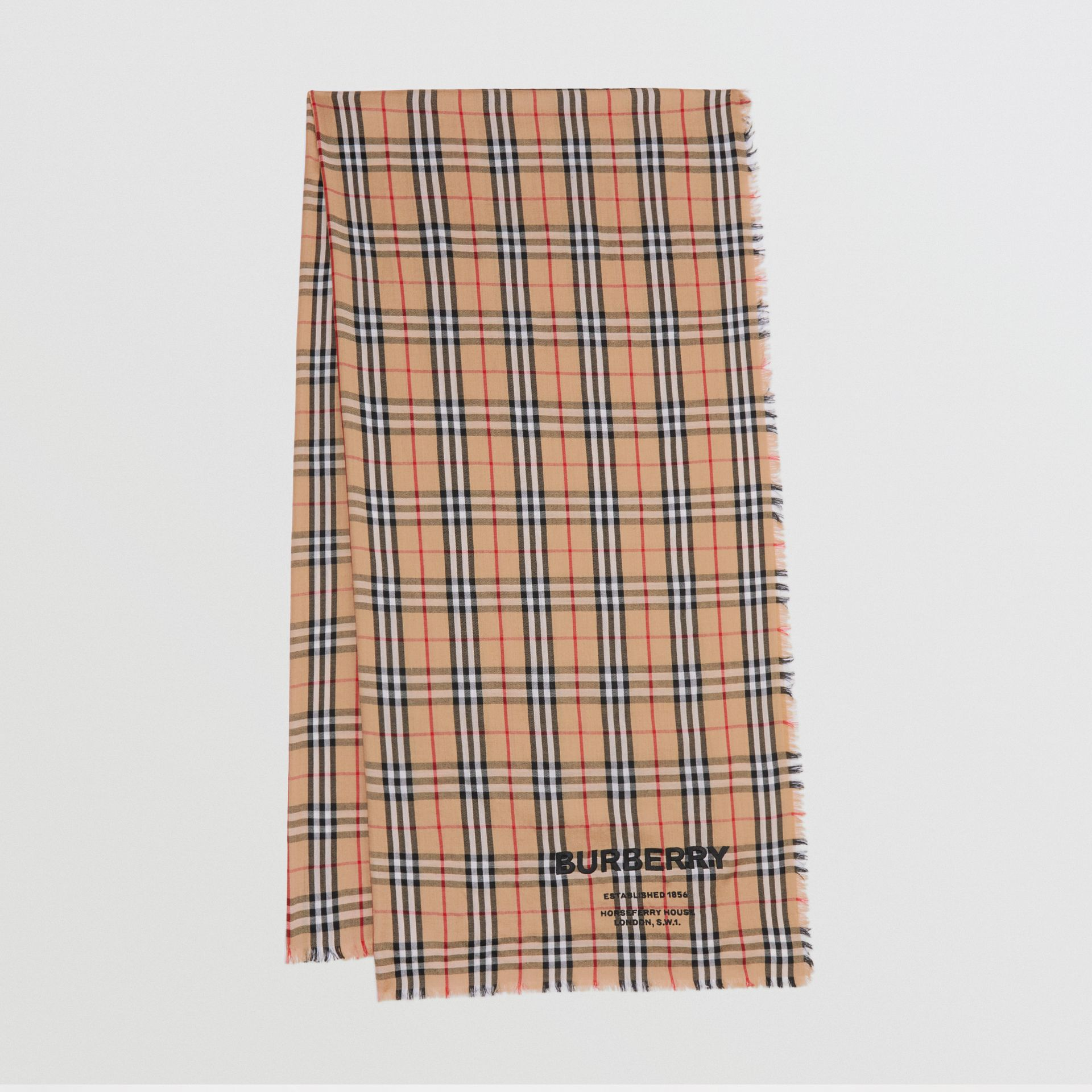 Embroidered Vintage Check Lightweight Cashmere Scarf in Camel | Burberry - gallery image 0