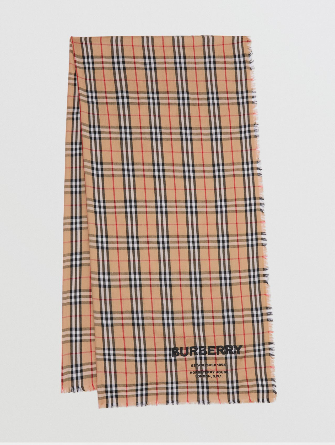 Embroidered Vintage Check Lightweight Cashmere Scarf in Camel