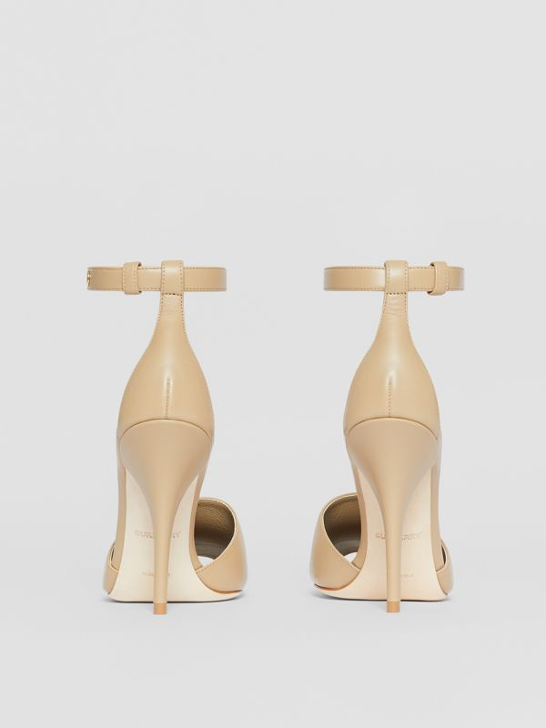 Triple Stud Leather Peep-toe Sandals in Honey - Women   Burberry United States - cell image 3