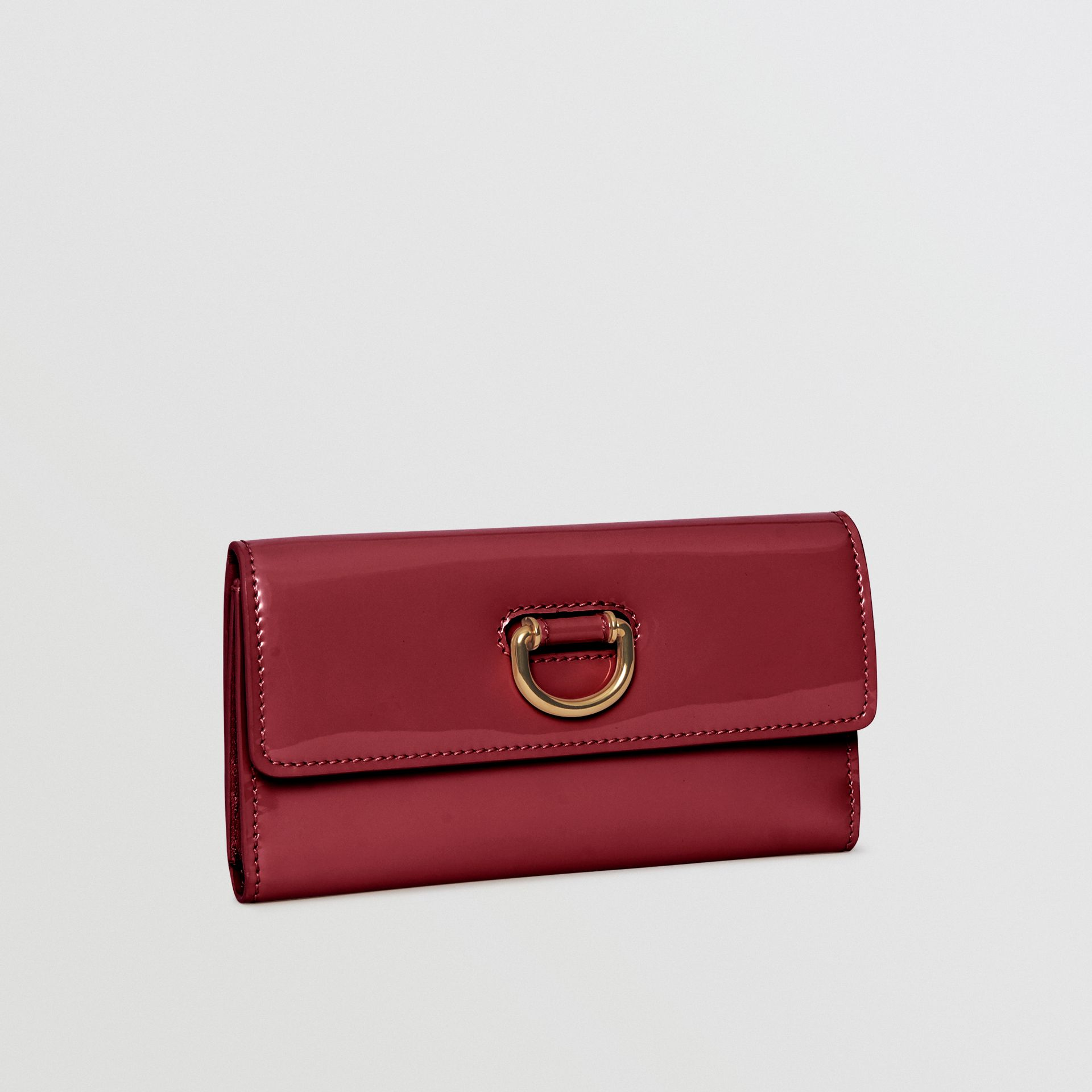 D-ring Patent Leather Continental Wallet in Crimson - Women | Burberry - gallery image 4