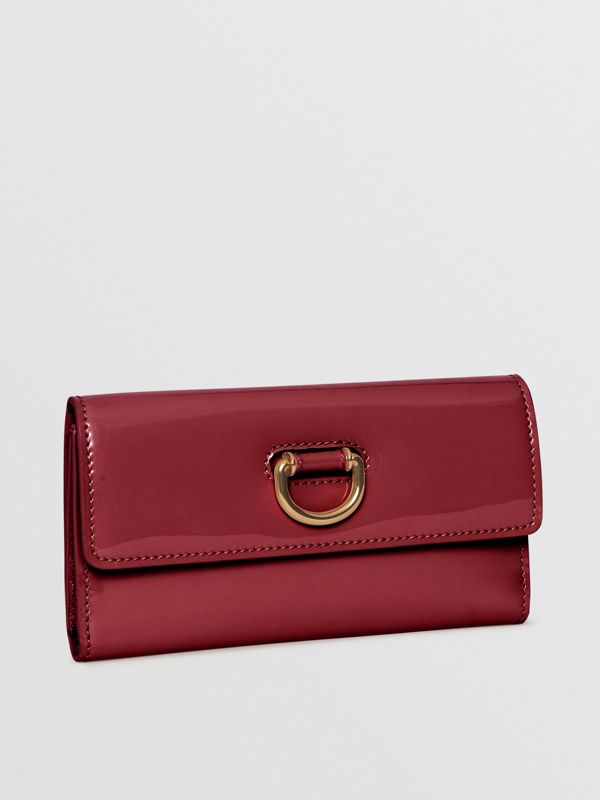 D-ring Patent Leather Continental Wallet in Crimson - Women | Burberry United States - cell image 3