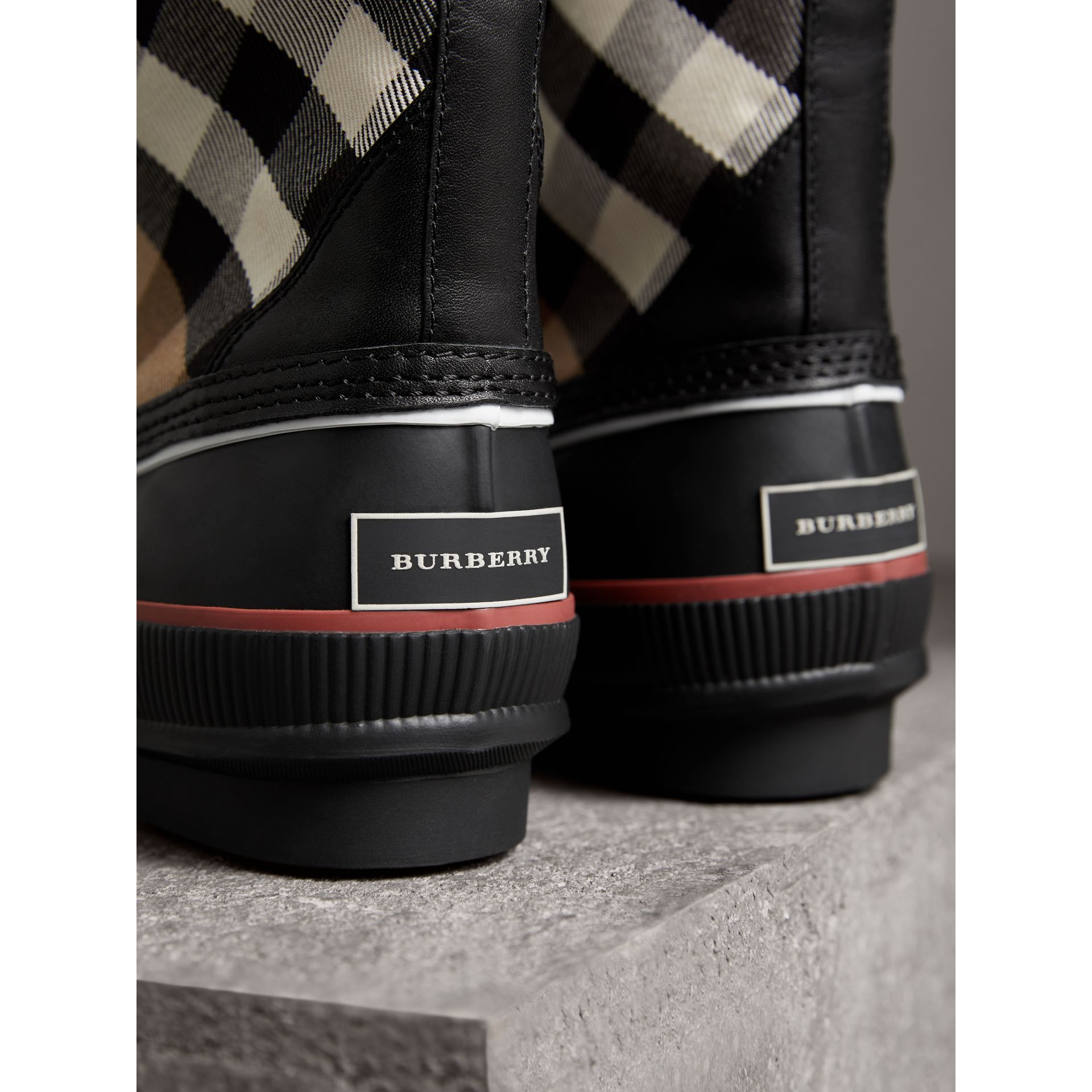 Lace-up House Check and Rubber Rain Boots in Classic Check/black - Women | Burberry - gallery image 2