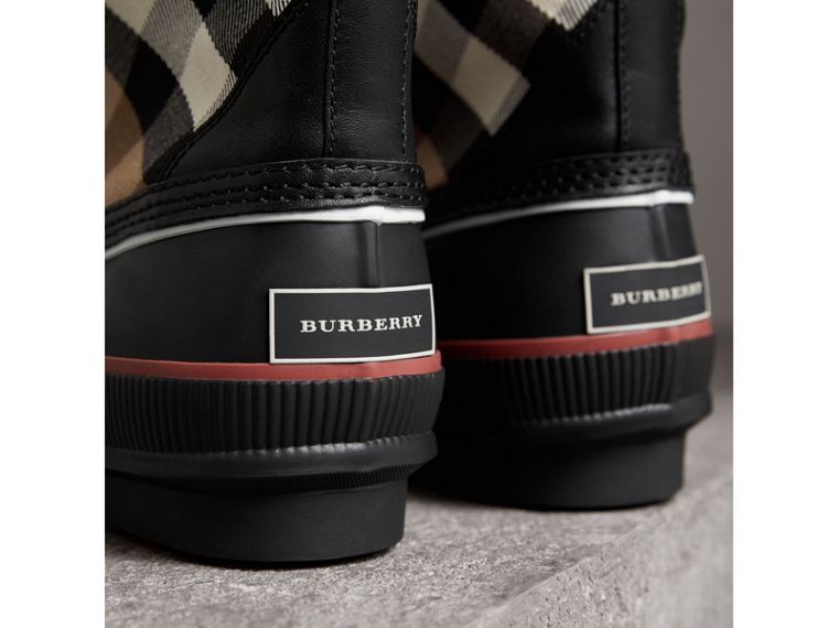 Lace-up House Check and Rubber Rain Boots in Classic Check/black - Women | Burberry - cell image 1