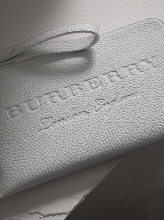 Embossed Leather Travel Wallet in Chalk White | Burberry Australia - cell image 1