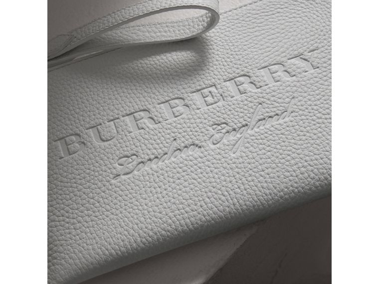 Embossed Leather Travel Wallet in Chalk White | Burberry - cell image 1