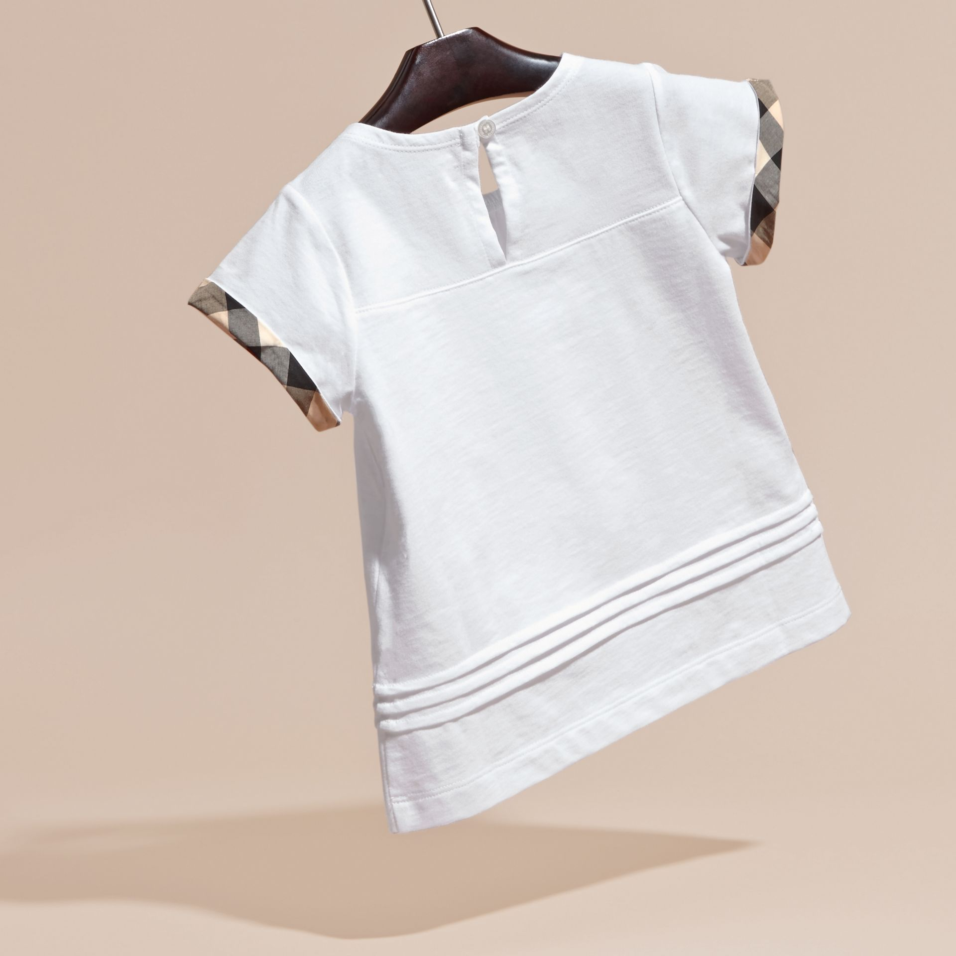 White Pleat and Check Detail Cotton T-shirt White - gallery image 4