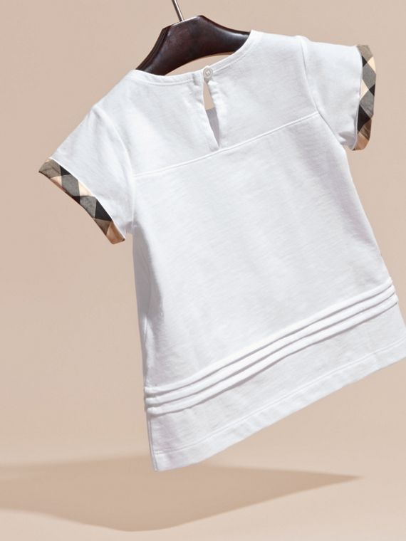 Pleat and Check Detail Cotton T-shirt in White - Girl | Burberry - cell image 3