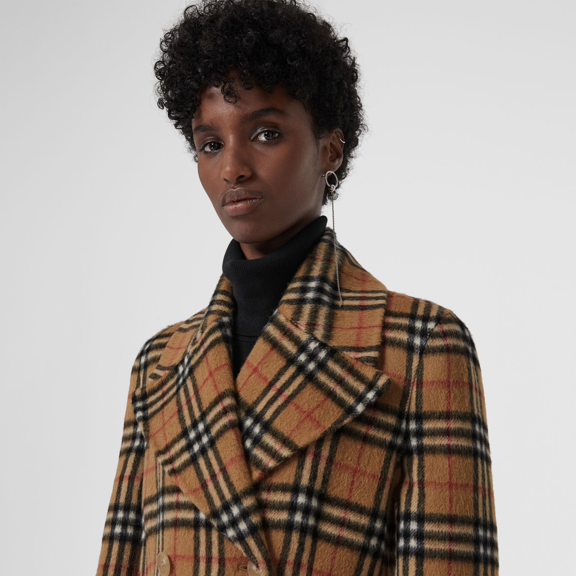 Vintage Check Alpaca Wool Tailored Coat in Antique Yellow - Women | Burberry United Kingdom - gallery image 1