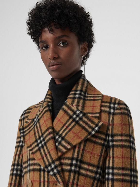 Vintage Check Alpaca Wool Tailored Coat in Antique Yellow - Women | Burberry - cell image 1