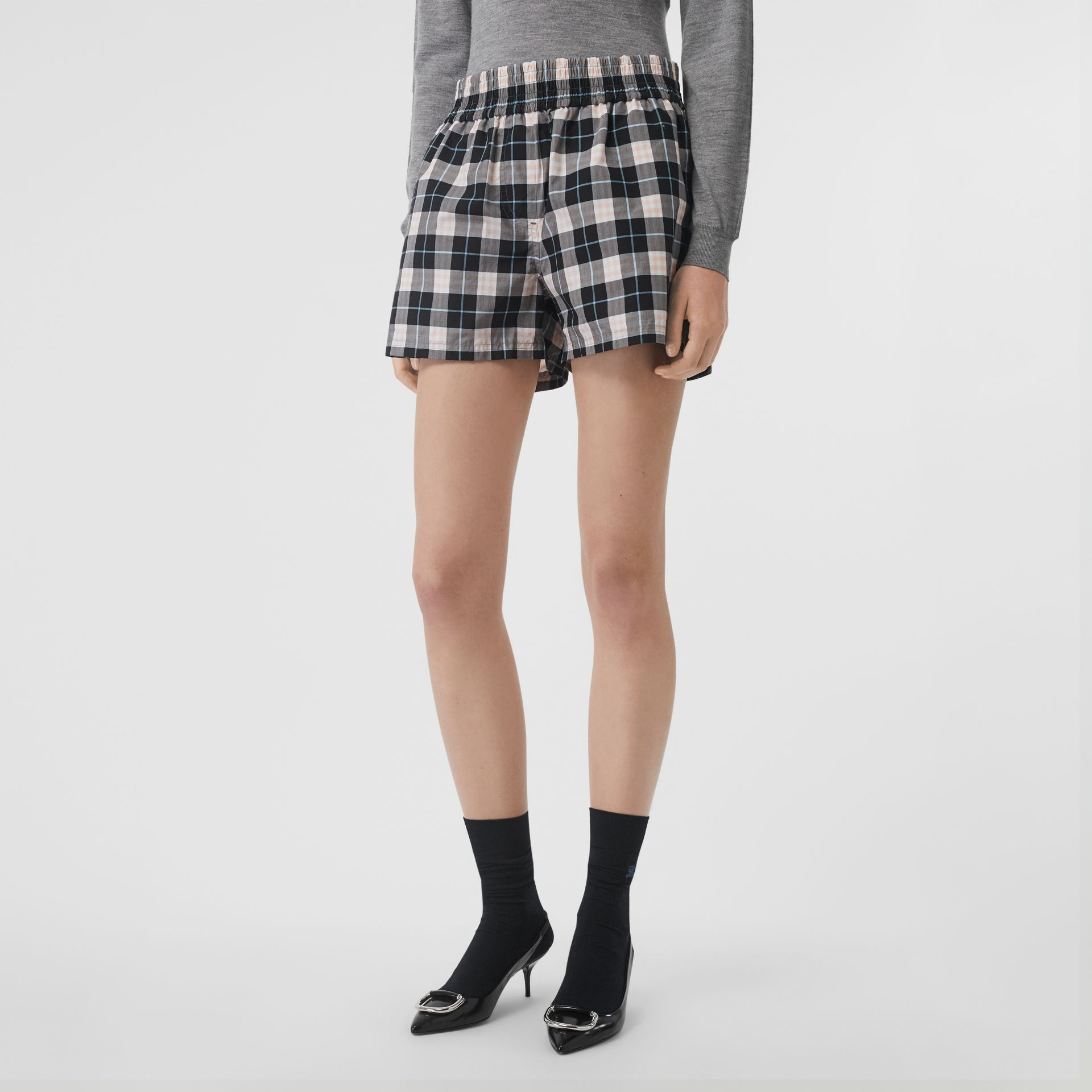 Check Cotton High-waisted Shorts in Pink Apricot - Women | Burberry - gallery image 4