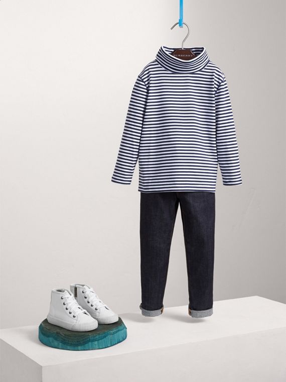Striped Cotton Roll-neck in Navy/white