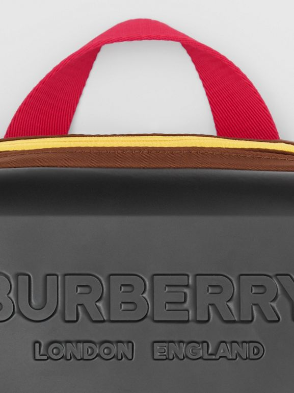 Logo Embossed Panel Nylon Bum Bag in Black - Men | Burberry Canada - cell image 1