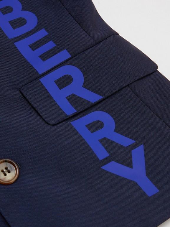 로고 프린트 울 모헤어 블레이저 (네이비) | Burberry - cell image 1