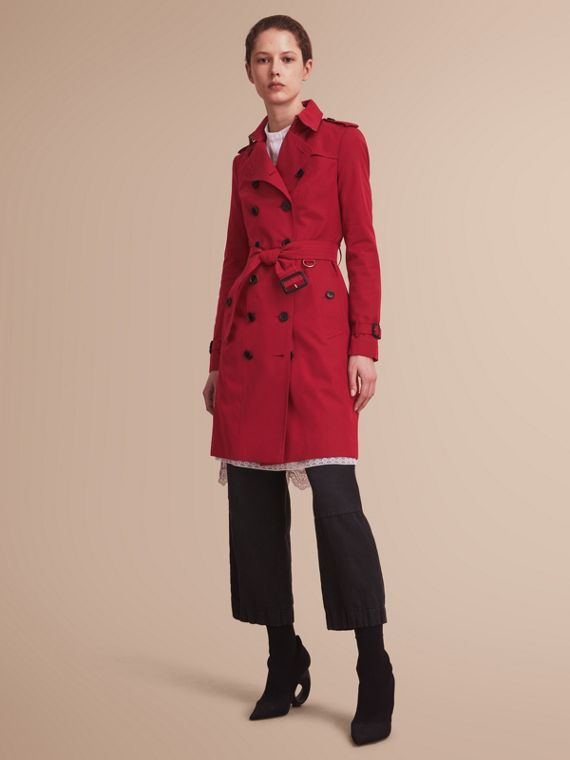 Trench coat Sandringham – Trench coat Heritage largo (Rojo Desfile) - Mujer | Burberry