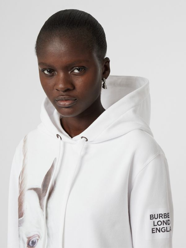 Unicorn Print Cotton Oversized Hoodie in White - Women | Burberry - cell image 2