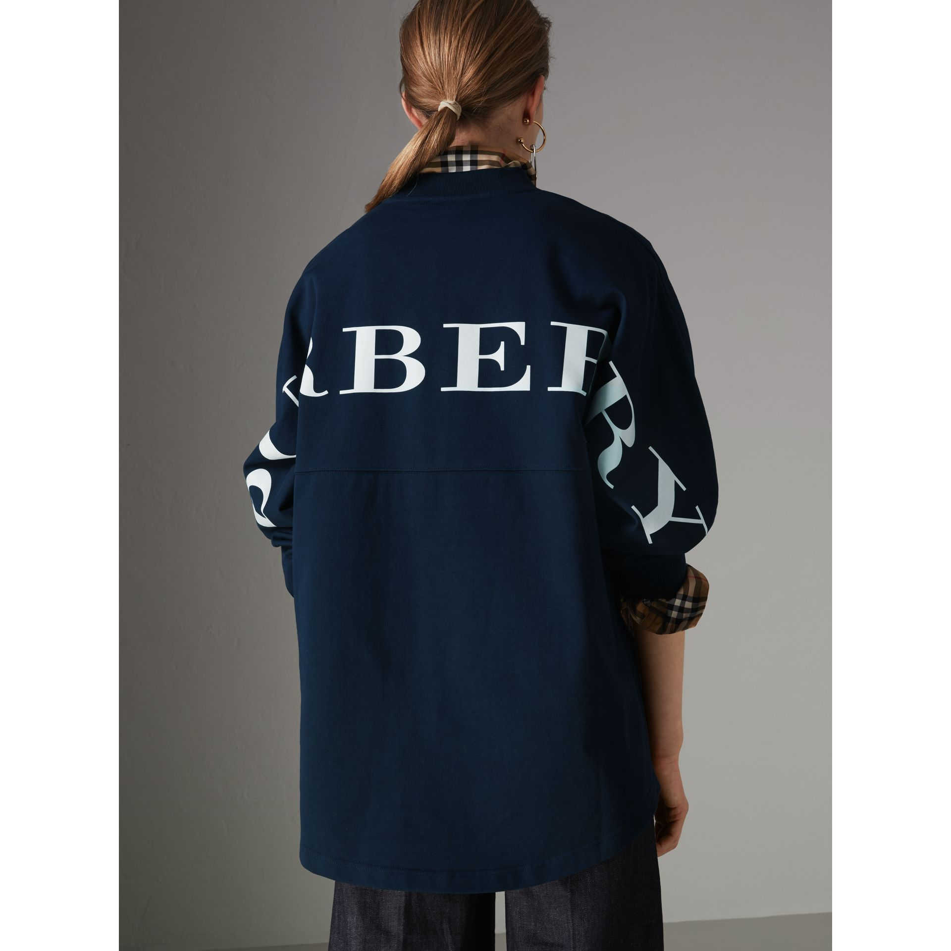 Logo Print Cotton Oversized Top in Navy - Women | Burberry - gallery image 2