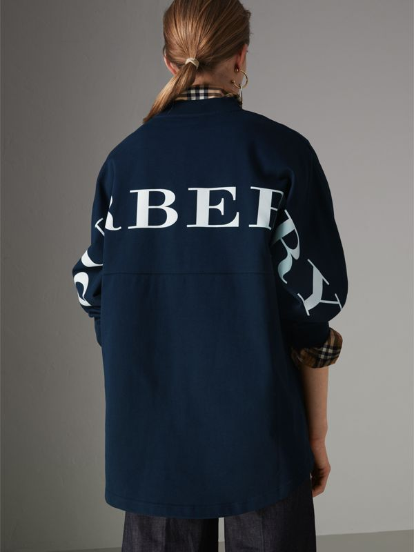 Logo Print Cotton Oversized Top in Navy - Women | Burberry United States - cell image 2