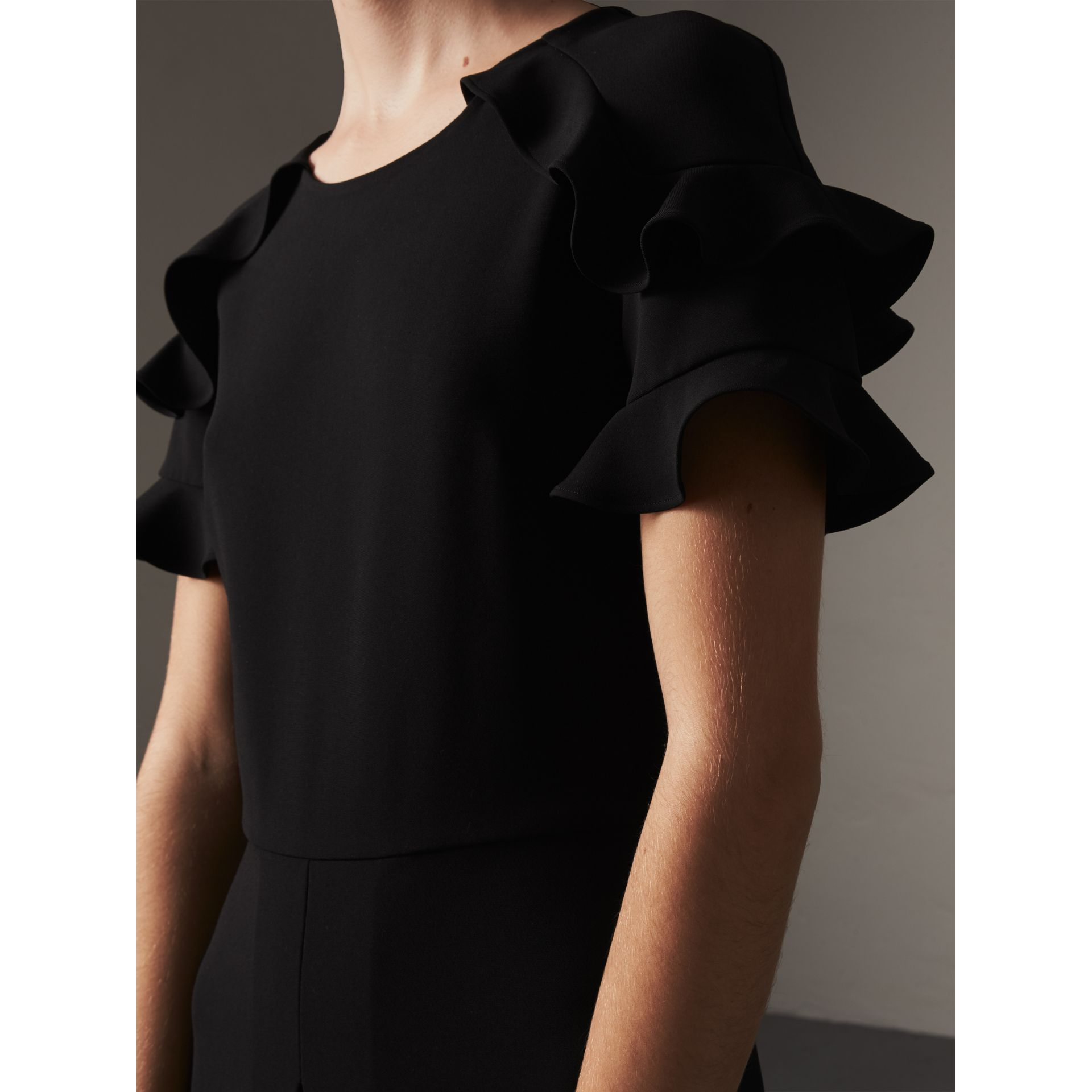 Ruffle Detail Short-sleeve Crepe Dress in Black - Women | Burberry Hong Kong - gallery image 2