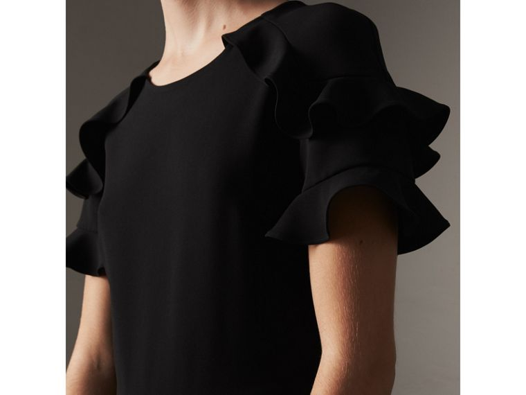 Ruffle Detail Short-sleeve Crepe Dress in Black - Women | Burberry - cell image 1