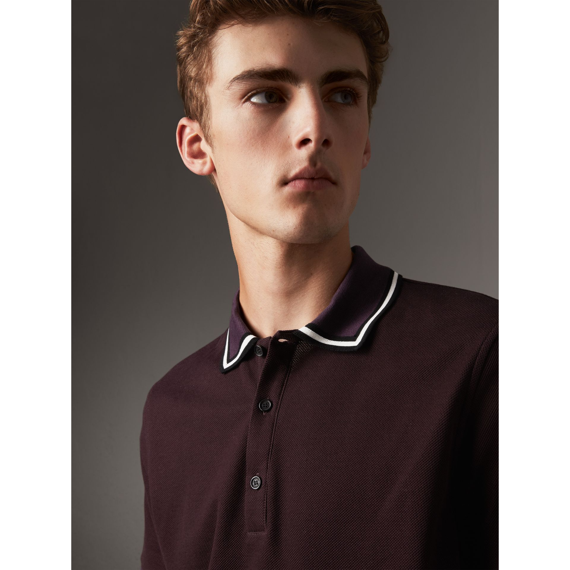 Striped Collar Cotton Piqué Polo Shirt in Blackcurrant - Men | Burberry - gallery image 4