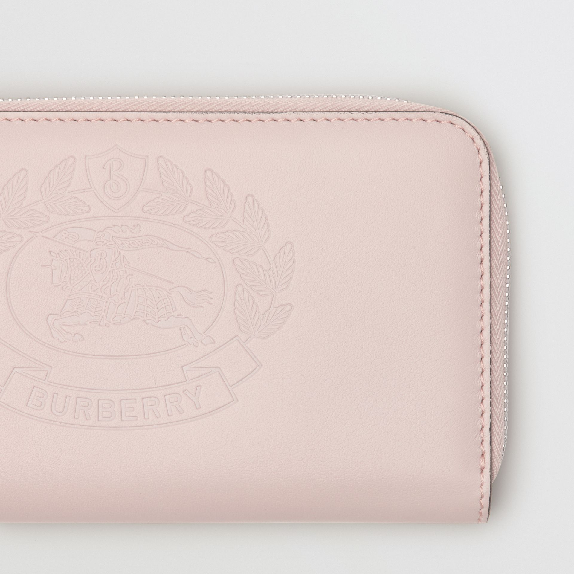 Embossed Crest Two-tone Leather Ziparound Wallet in Chalk Pink - Women | Burberry - gallery image 1