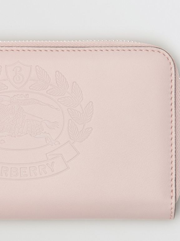Embossed Crest Two-tone Leather Ziparound Wallet in Chalk Pink - Women | Burberry United States - cell image 1
