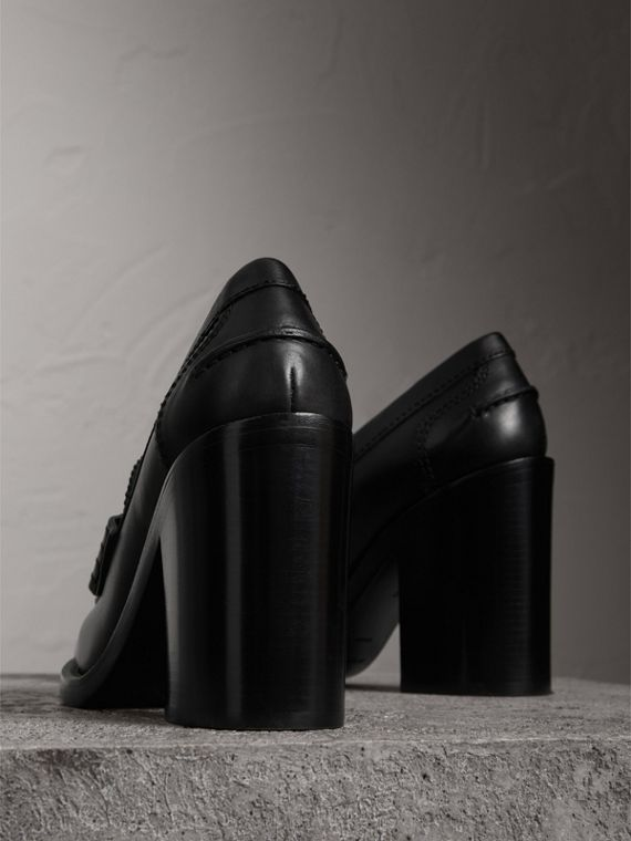Eyelet Detail Leather Heeled Loafers in Black - Women | Burberry United Kingdom - cell image 3