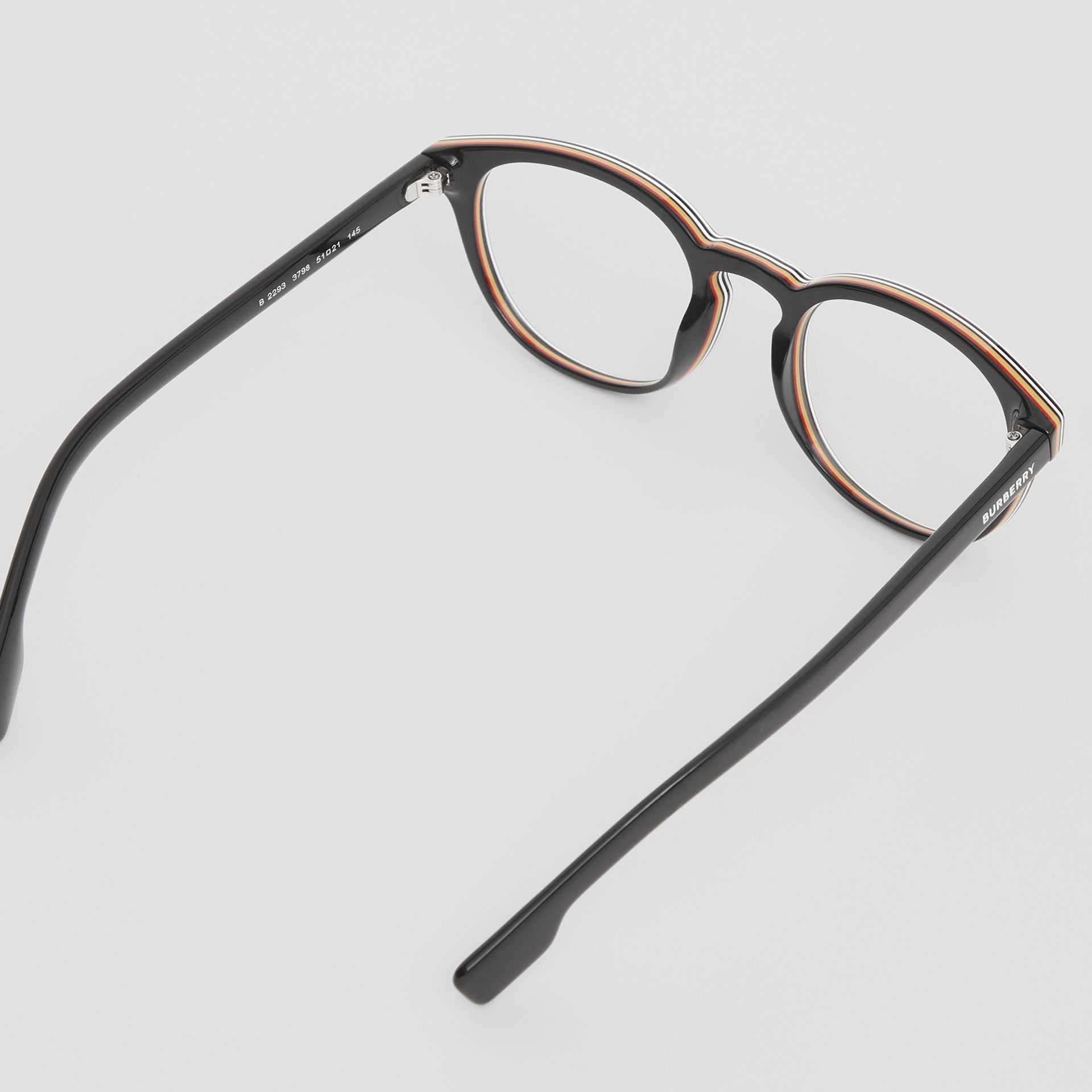 Icon Stripe Detail Round Optical Frames in Black - Men | Burberry - gallery image 3