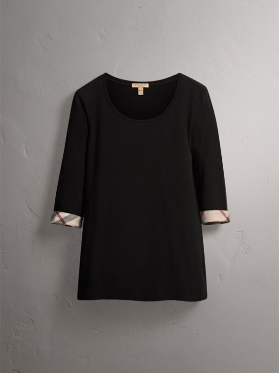 Check Cuff Stretch-Cotton Top in Black - Women | Burberry Canada - cell image 3