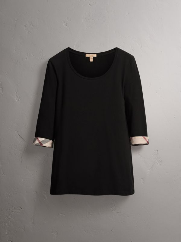 Check Cuff Stretch-Cotton Top in Black - Women | Burberry Singapore - cell image 3