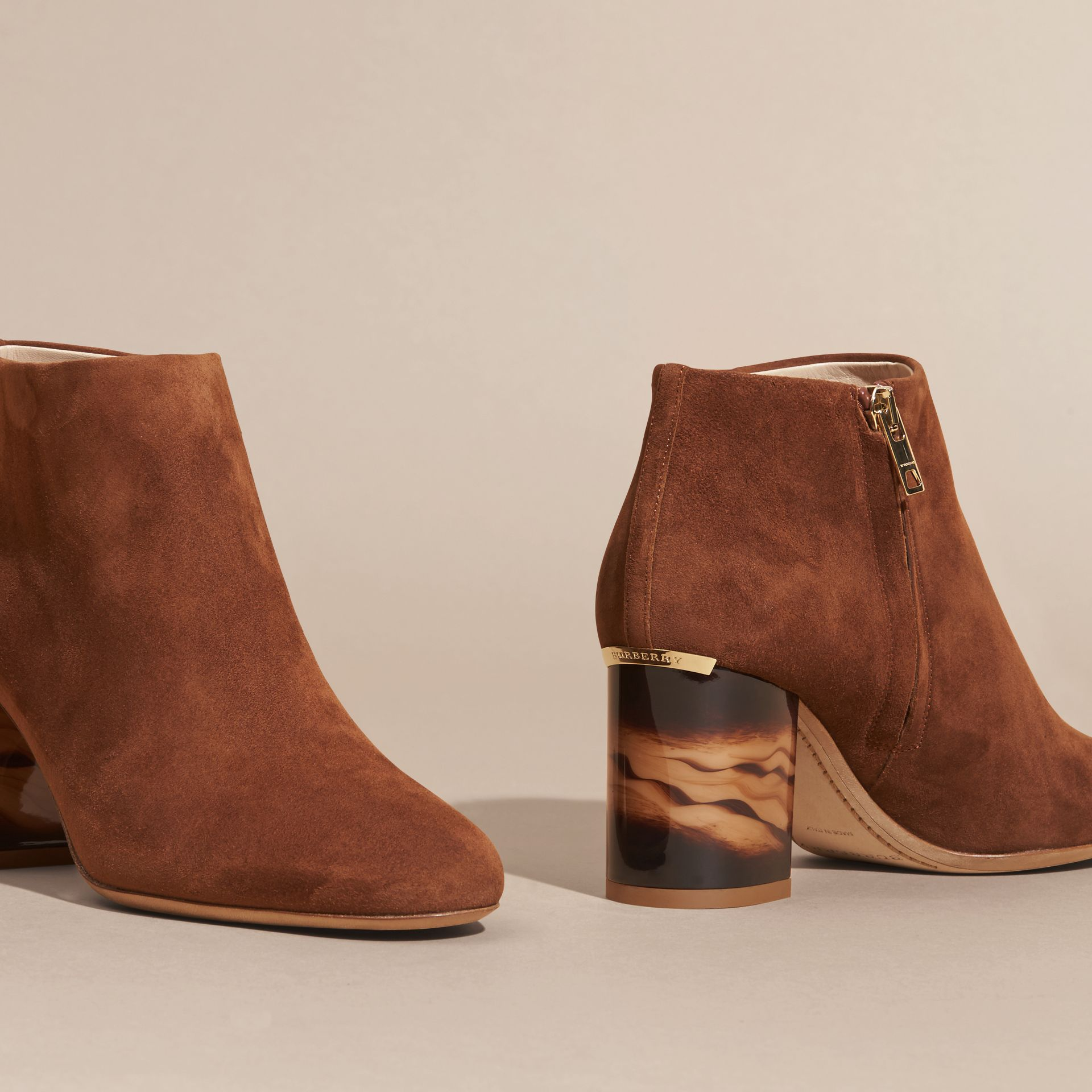 Marron girofle Bottines en cuir velours - photo de la galerie 4