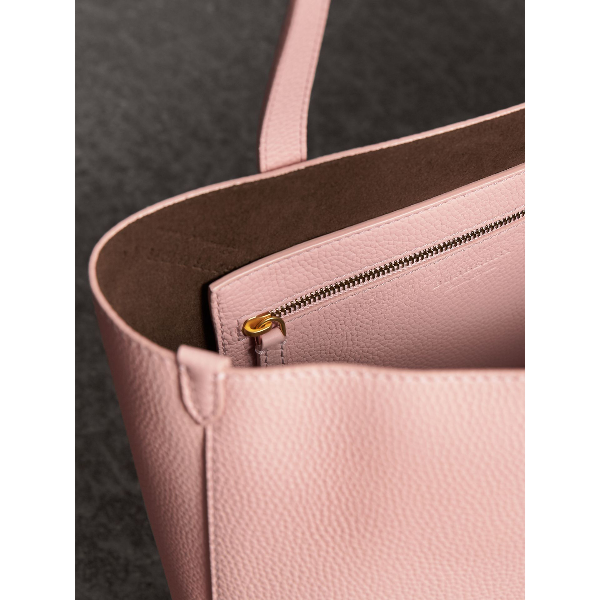 Large Embossed Leather Tote in Pale Ash Rose - Women | Burberry - gallery image 4