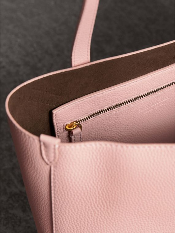 Large Embossed Leather Tote in Pale Ash Rose - Women | Burberry - cell image 3