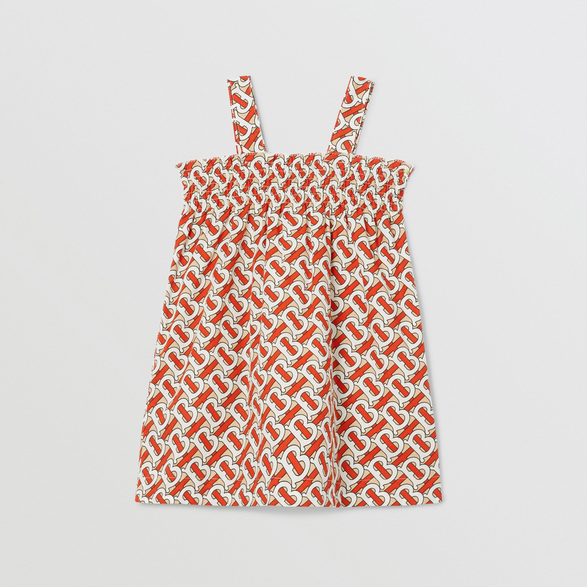 Smocked Monogram Print Cotton Poplin Dress in Vermilion Red - Children | Burberry - gallery image 3