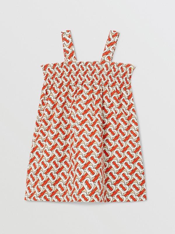 Smocked Monogram Print Cotton Poplin Dress in Vermilion Red - Children | Burberry - cell image 3