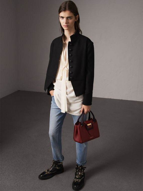 The Small Buckle Tote in Two-tone Leather in Burgundy - Women | Burberry United States - cell image 2
