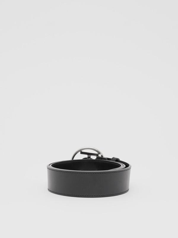 Monogram Motif Leather Belt in Black - Men | Burberry - cell image 3
