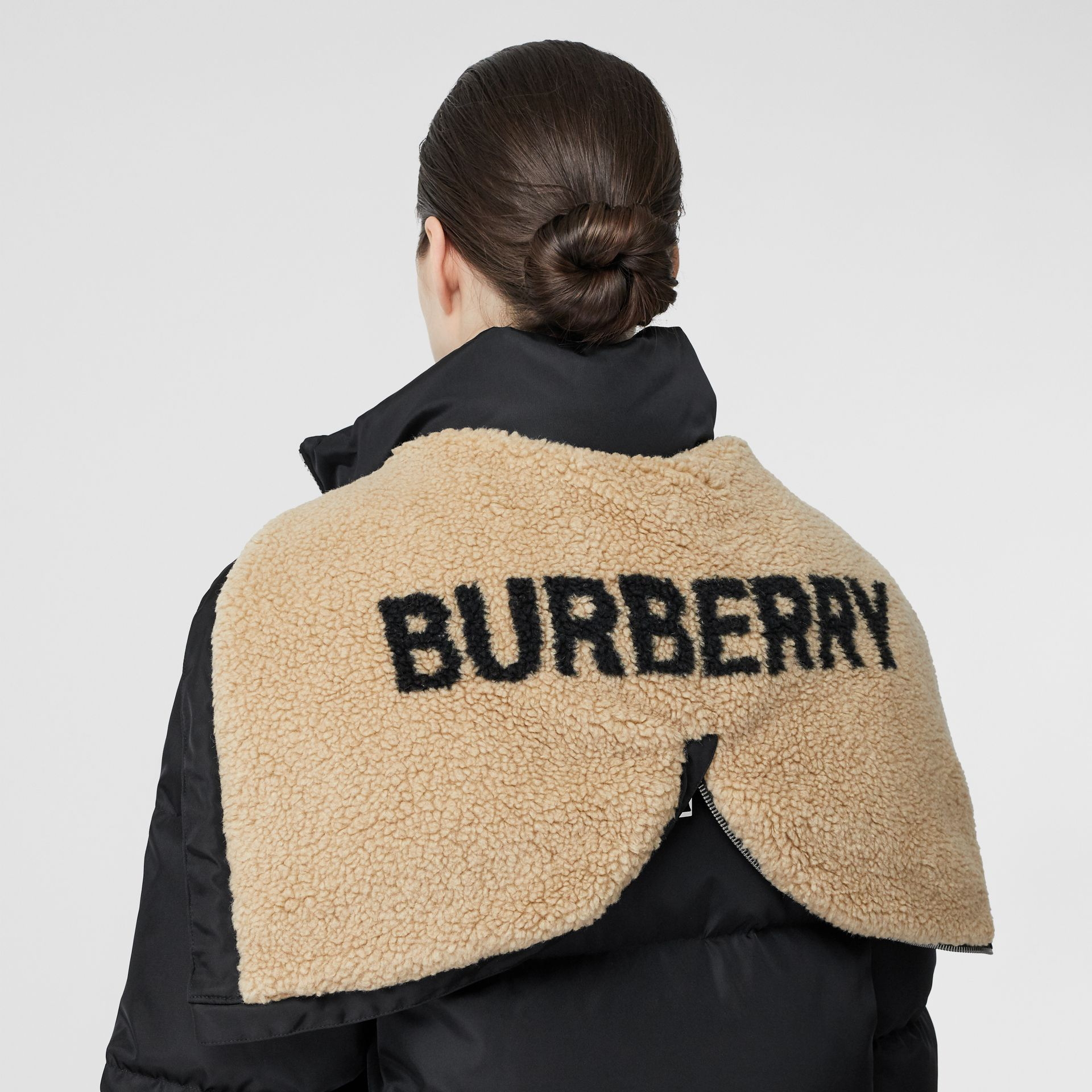 Logo Detail Puffer Coat in Black - Women | Burberry - gallery image 5