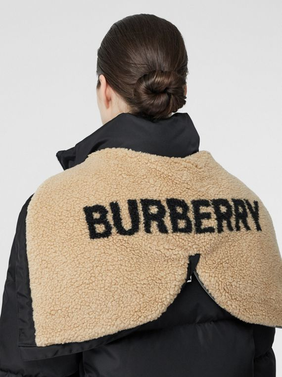 Logo Detail Puffer Coat in Black