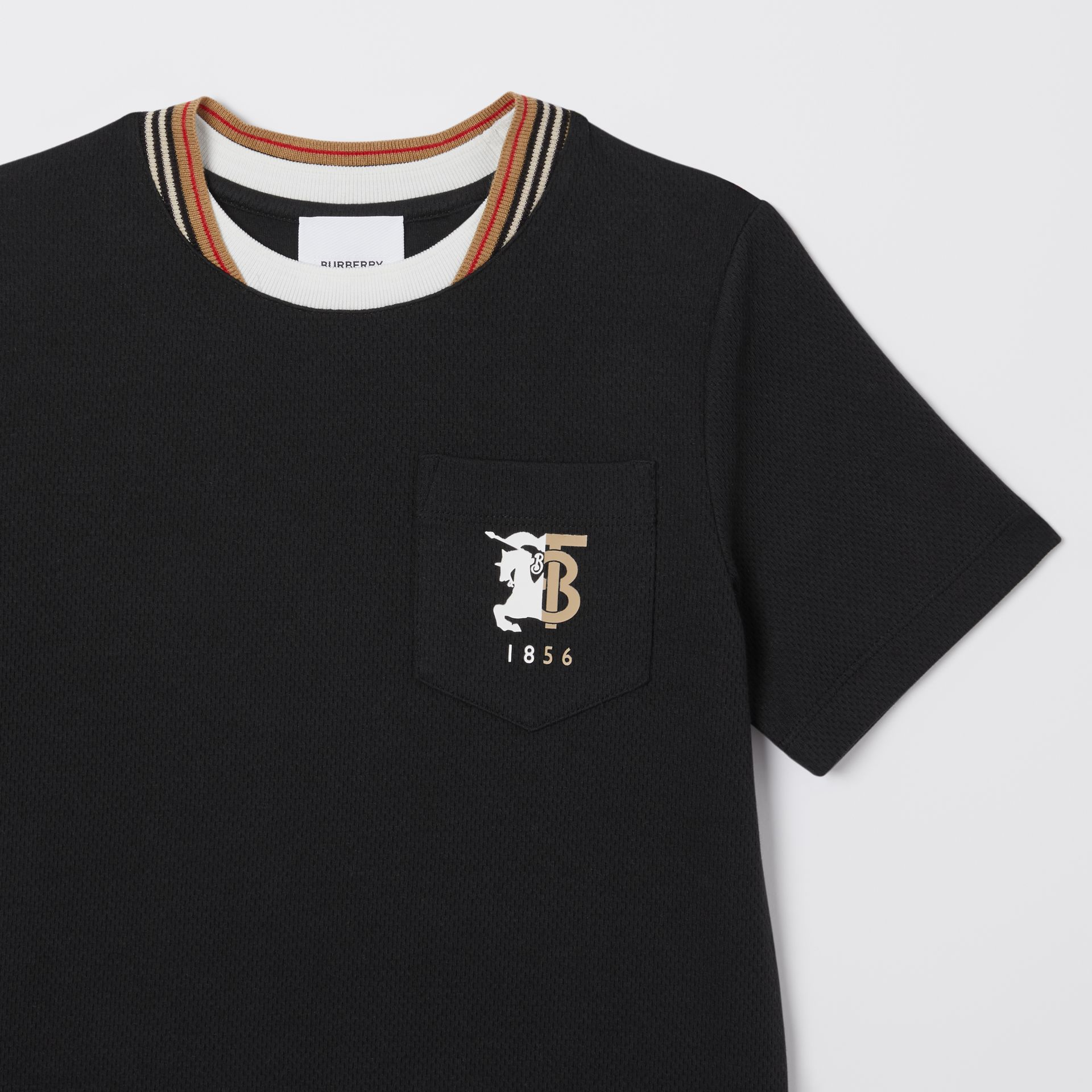 Contrast Logo Graphic Jersey Mesh T-shirt in Black | Burberry - gallery image 4