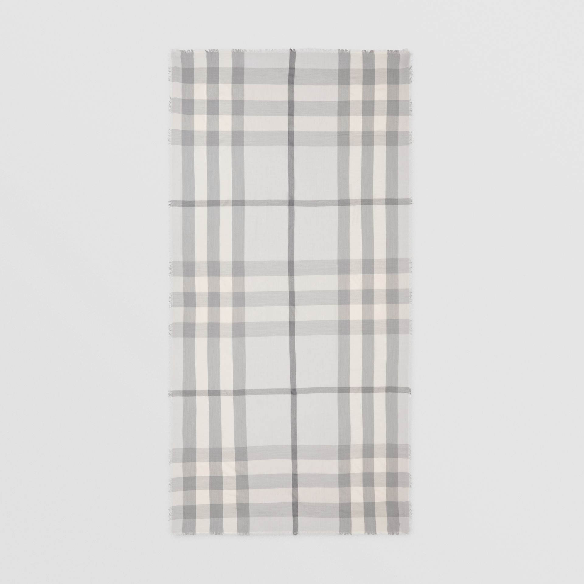 Lightweight Check Cashmere Scarf in White/light Grey | Burberry - gallery image 4