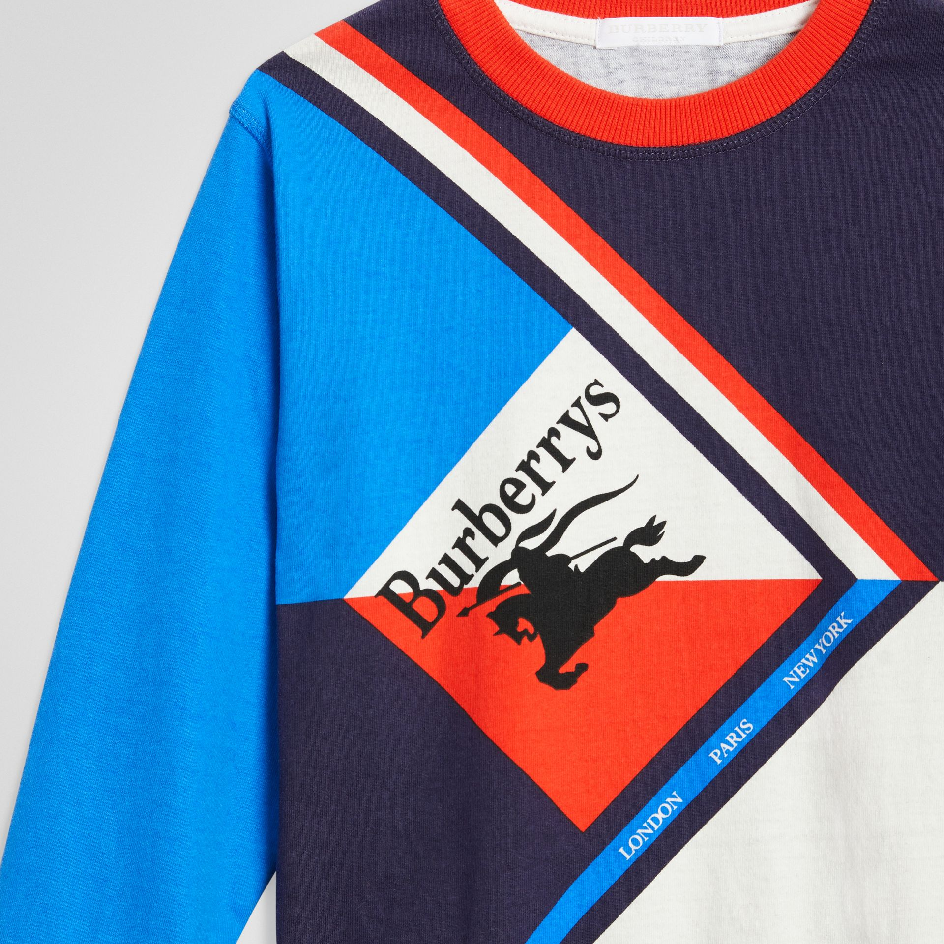 Long-sleeve Archive Logo Print Cotton Top in Multicolour | Burberry United Kingdom - gallery image 4